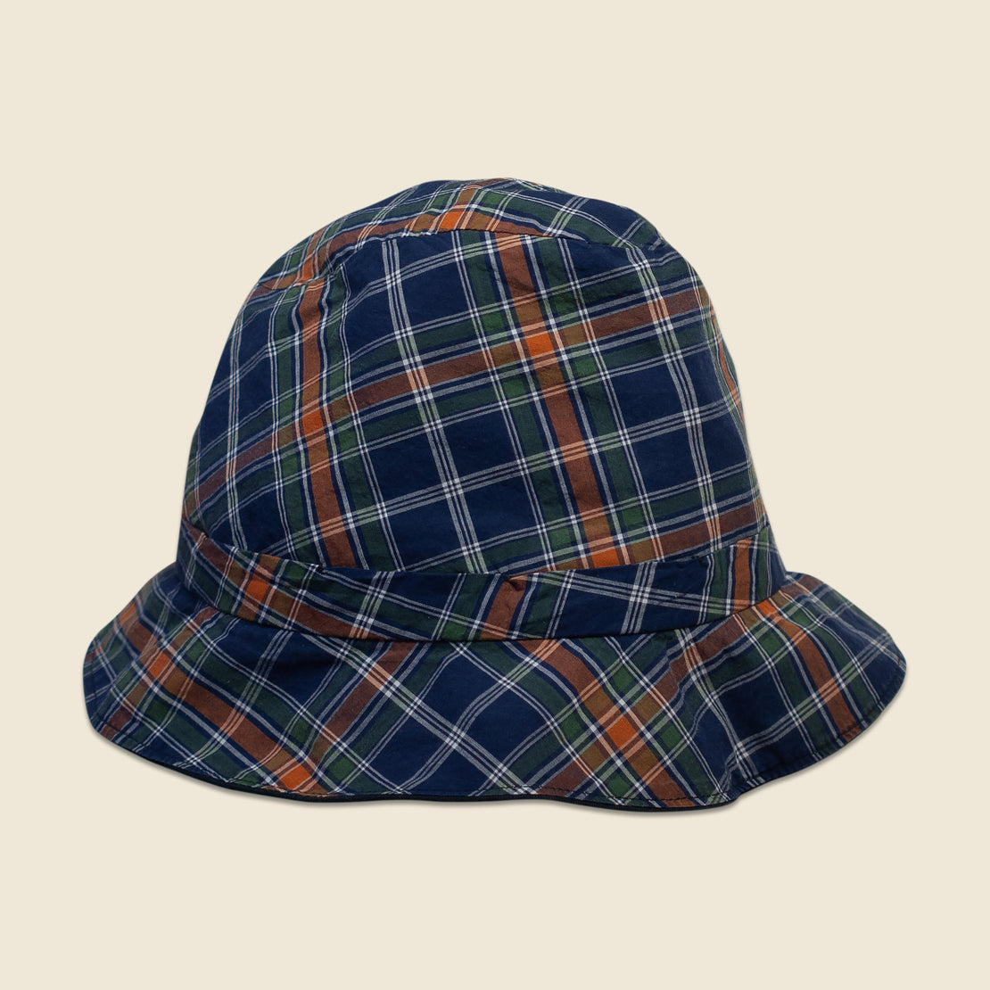 Reversible Bucket Hat - Navy/Plaid