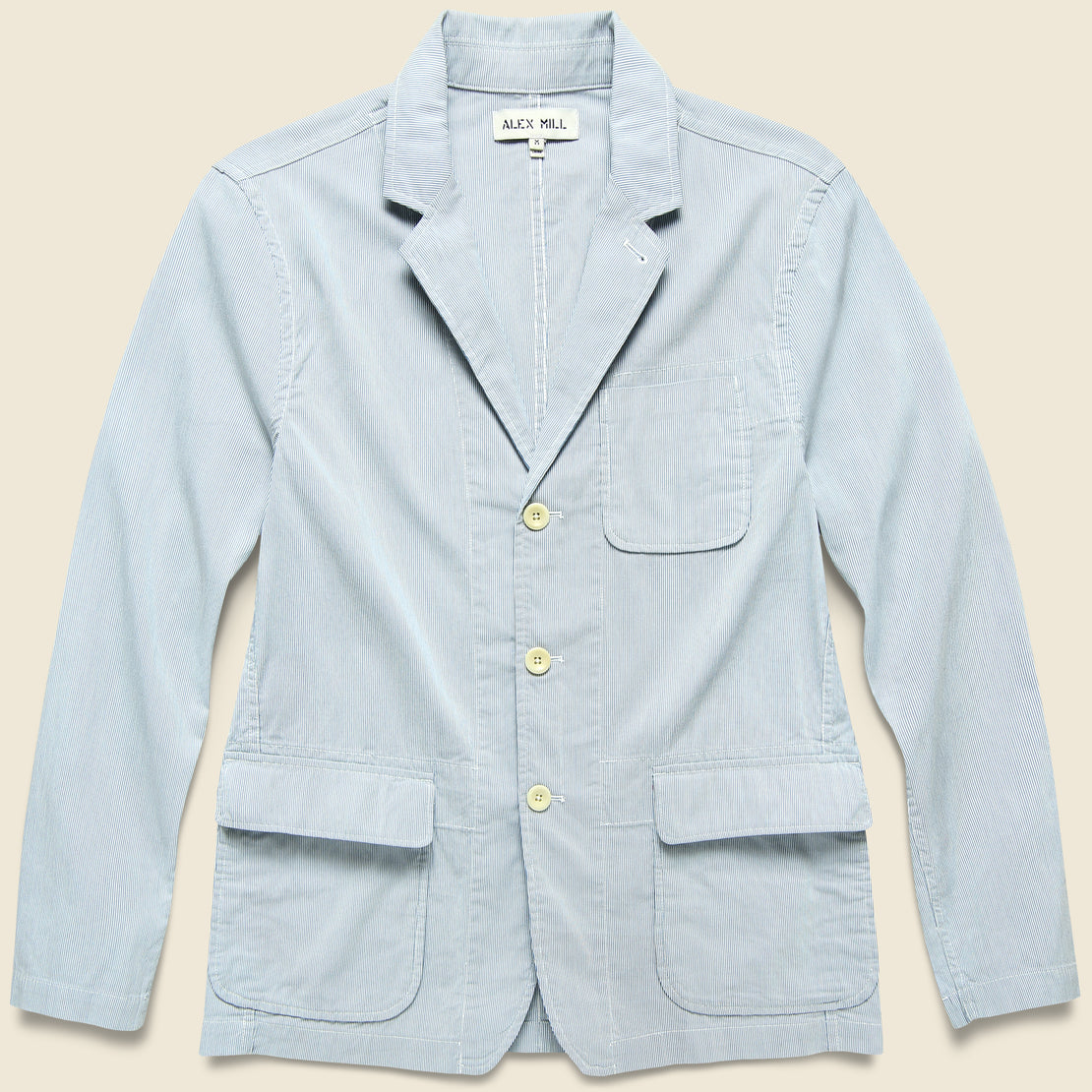 Alex Mill Striped Sack Jacket - Blue/White