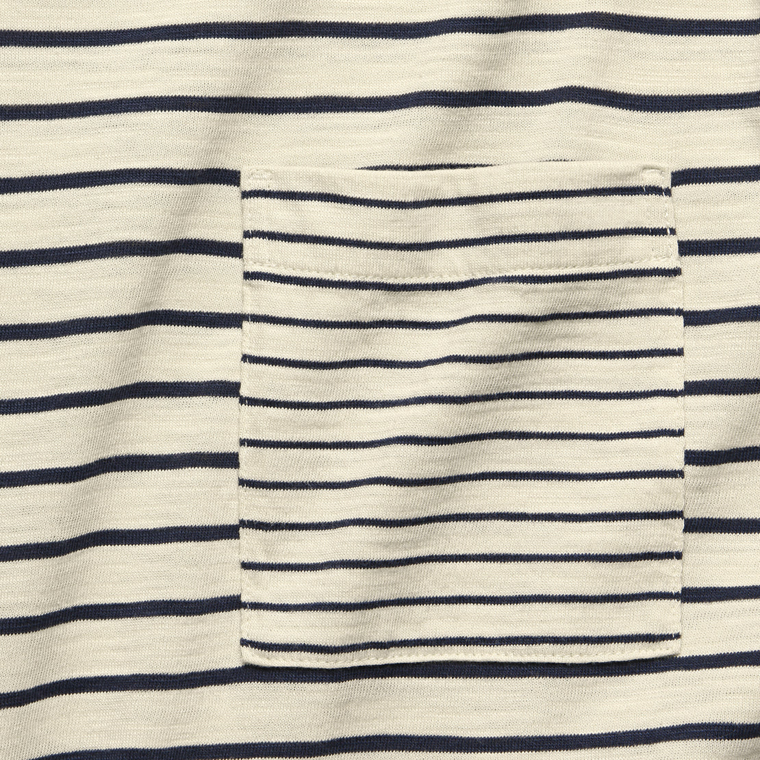 Mixed Stripe Pocket Tee - Canvas/Navy