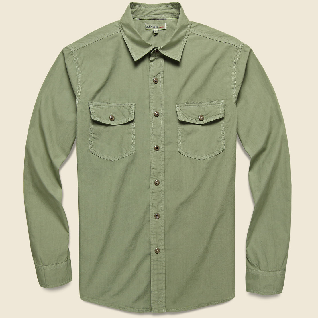 Alex Mill Garment Dyed Field Shirt - Military Green
