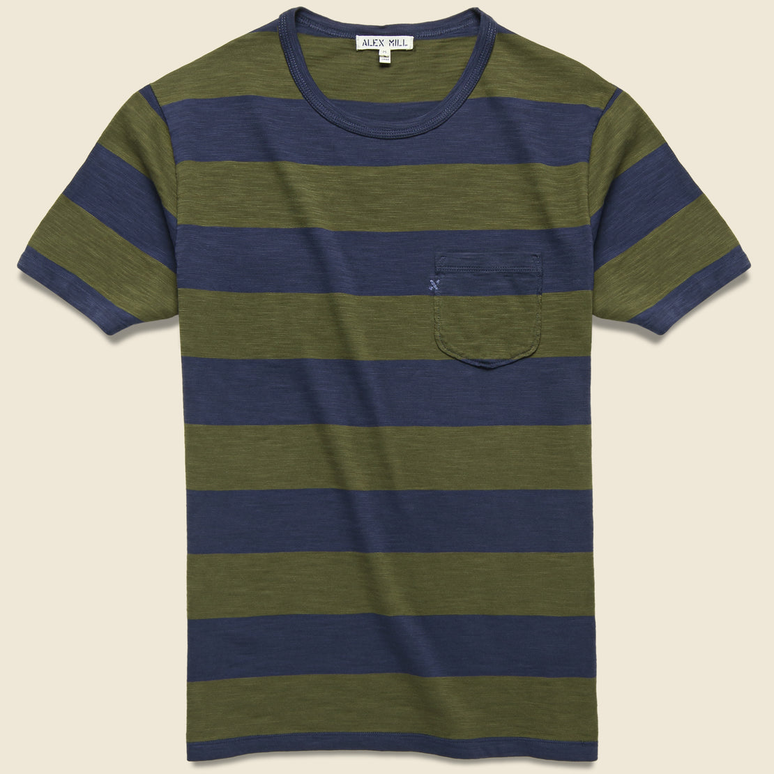 Alex Mill Wide Striped Pocket Tee - Navy/Military Green