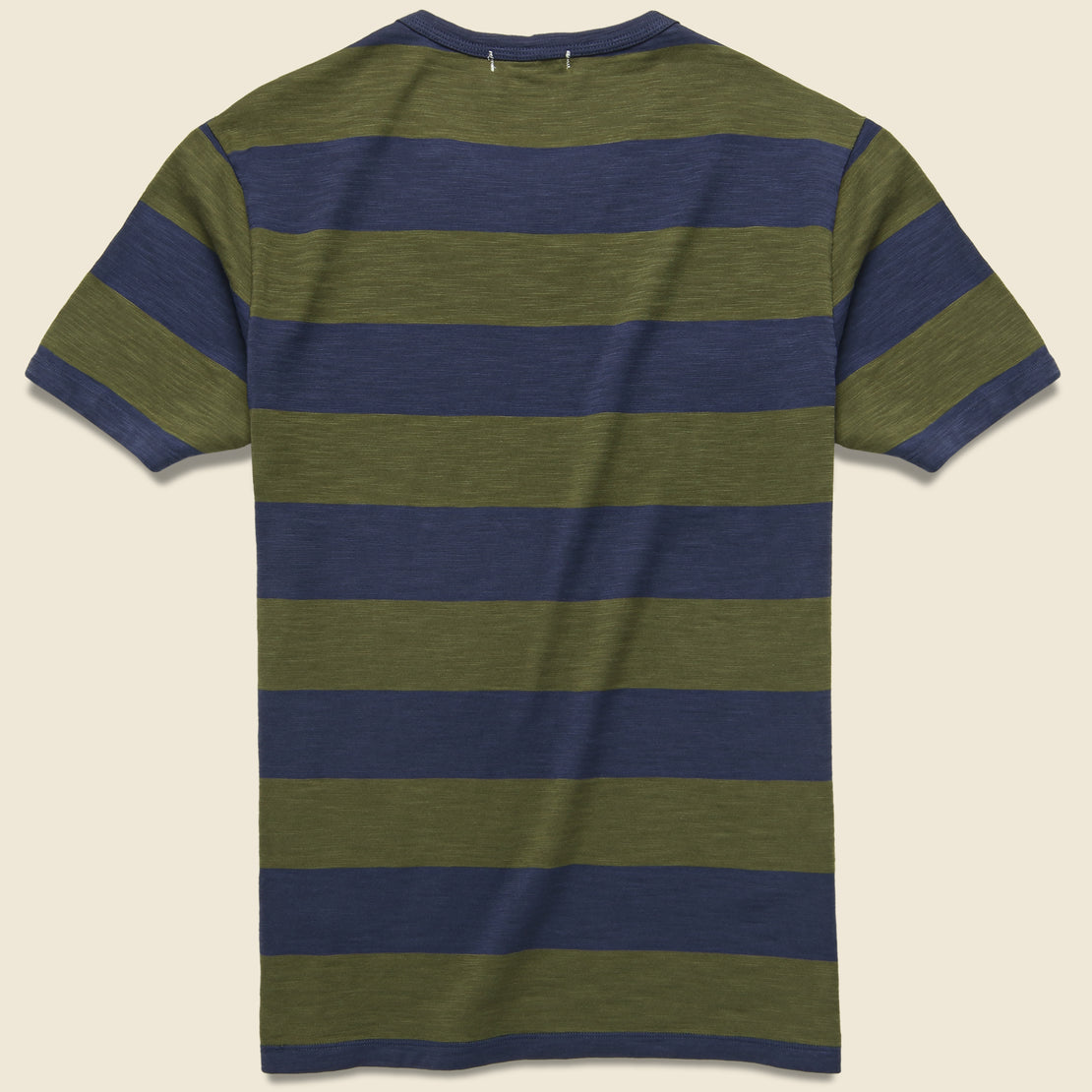 Wide Striped Pocket Tee - Navy/Military Green