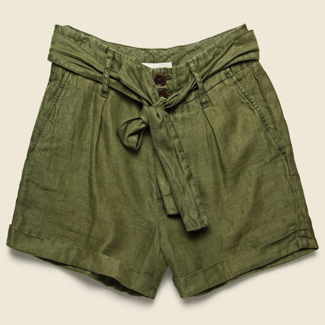 Alex Mill Pleated Short - Deep Olive Linen
