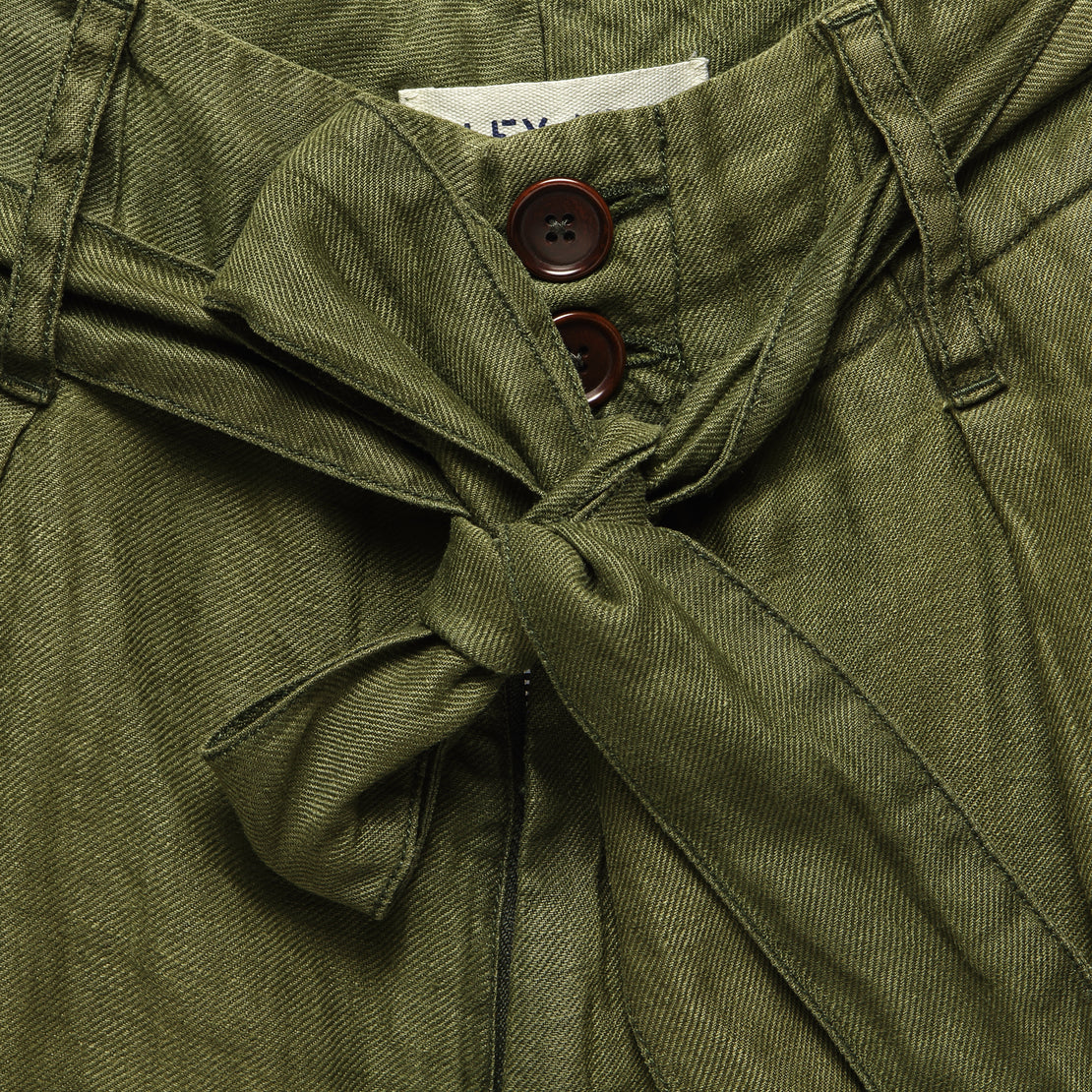 Pleated Short - Deep Olive Linen