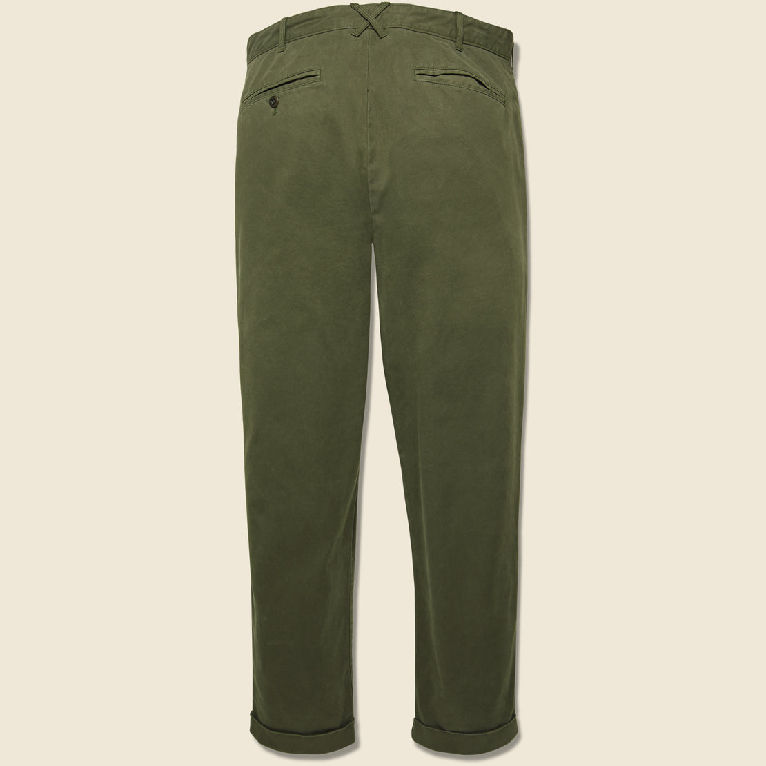 Standard Pleated Chino - Military Olive
