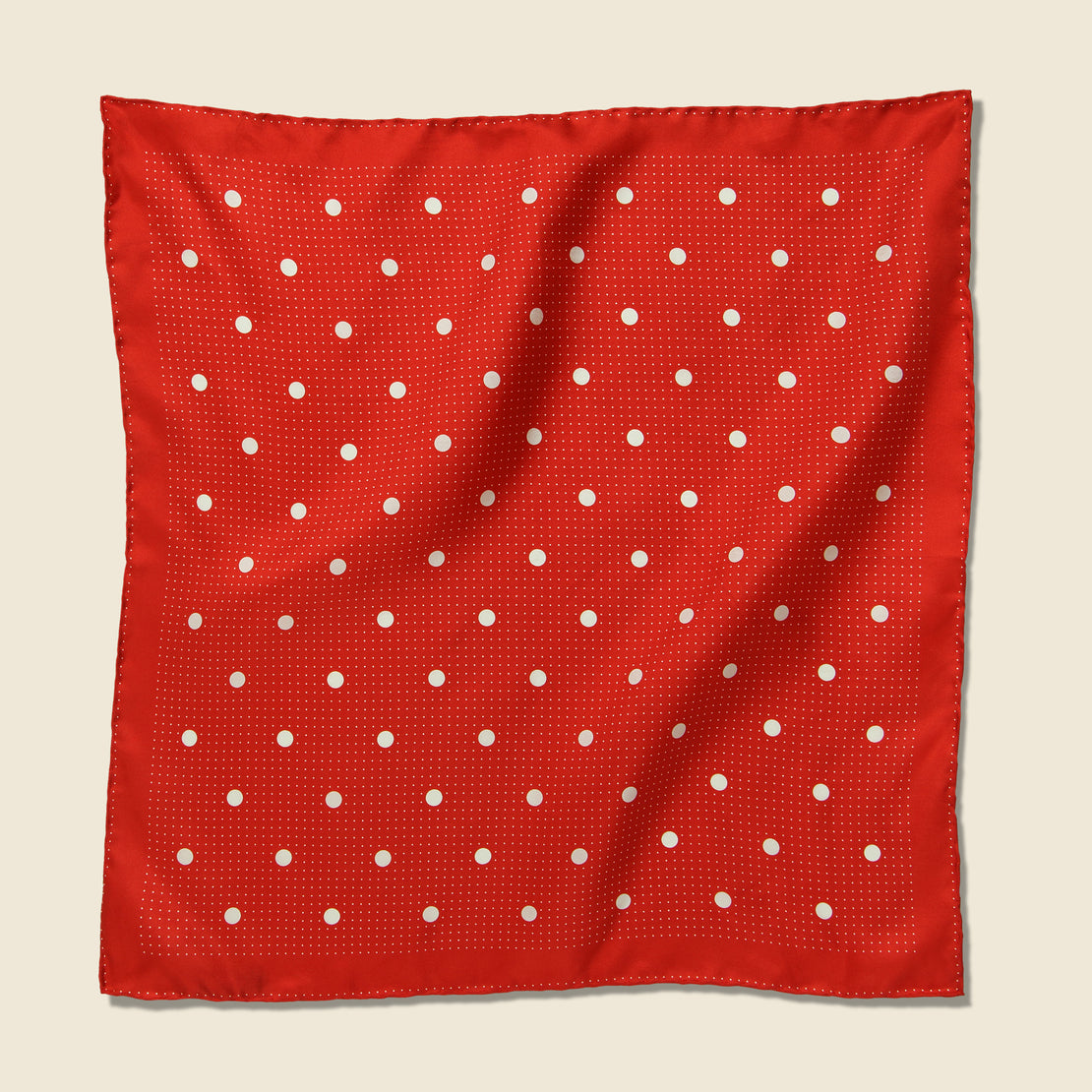 Alex Mill Multi Dot Silk Scarf - Ecru/Tomato