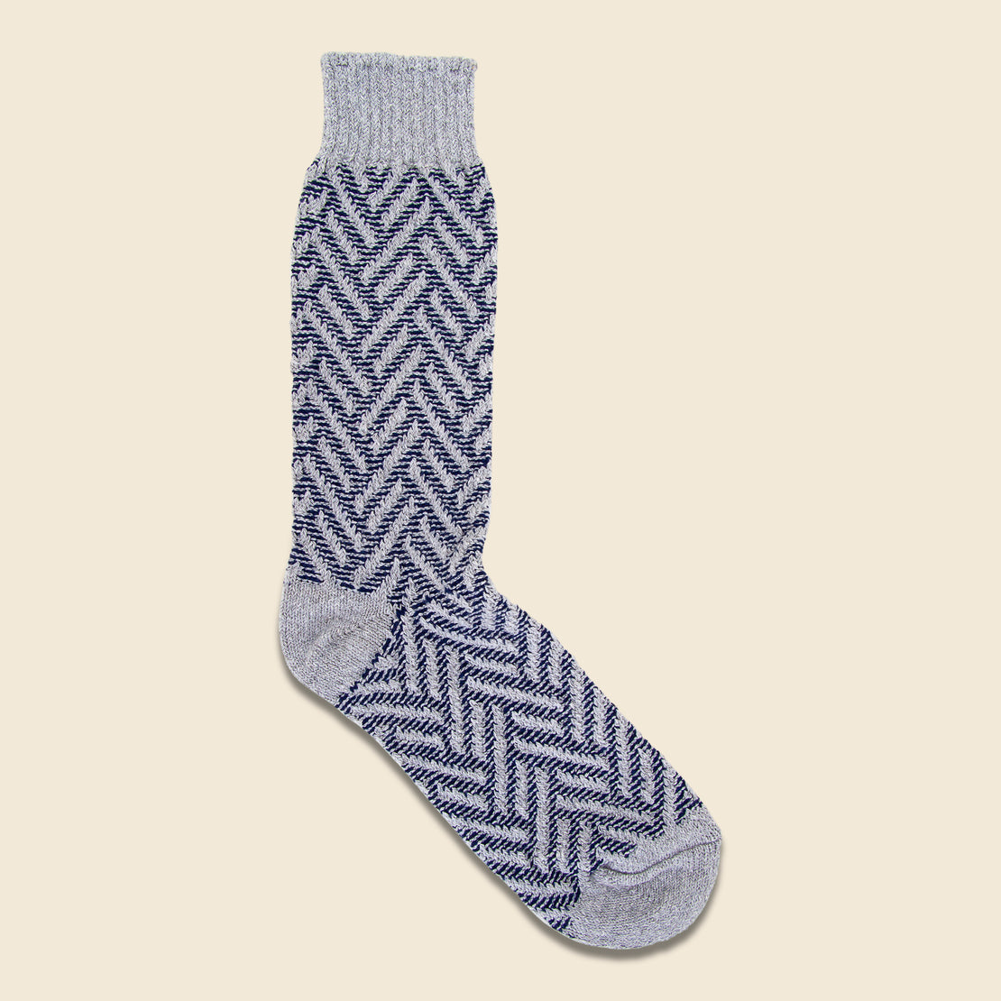 American Trench Exploded Herringbone Crew Sock - Silver/Navy