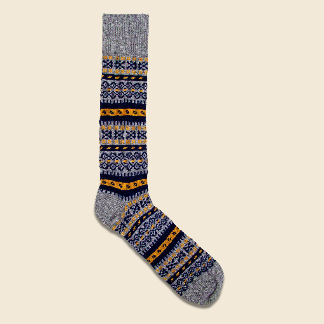 American Trench Fair Isle Crew Sock - Grey/Navy/Gold