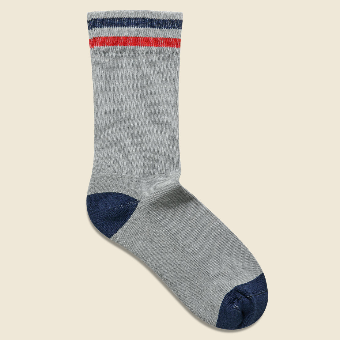 American Trench Kennedy Athletic Crew Sock - Grey/Navy/Red