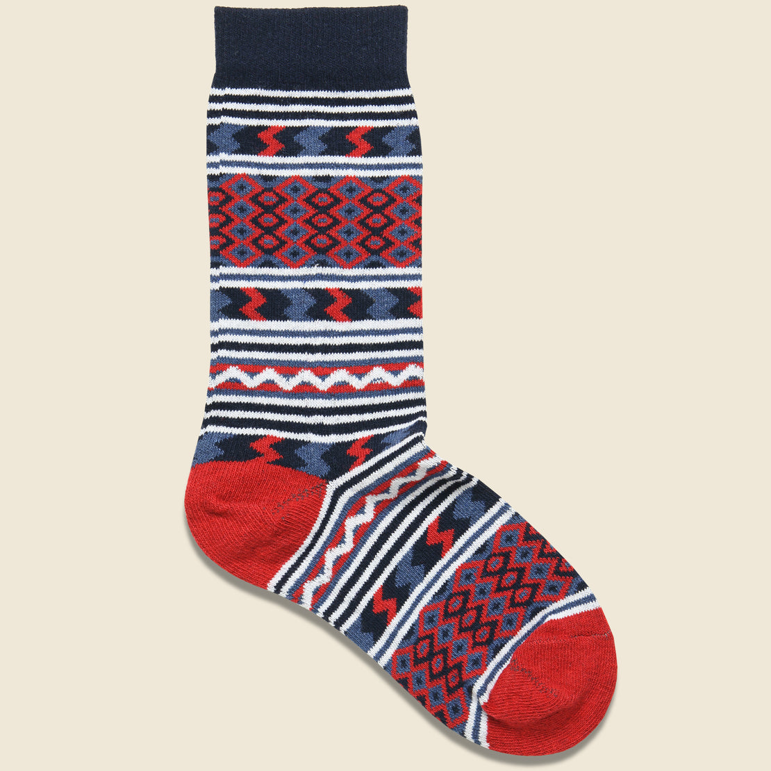 American Trench Rio Grande Serape Sock - Navy/Red