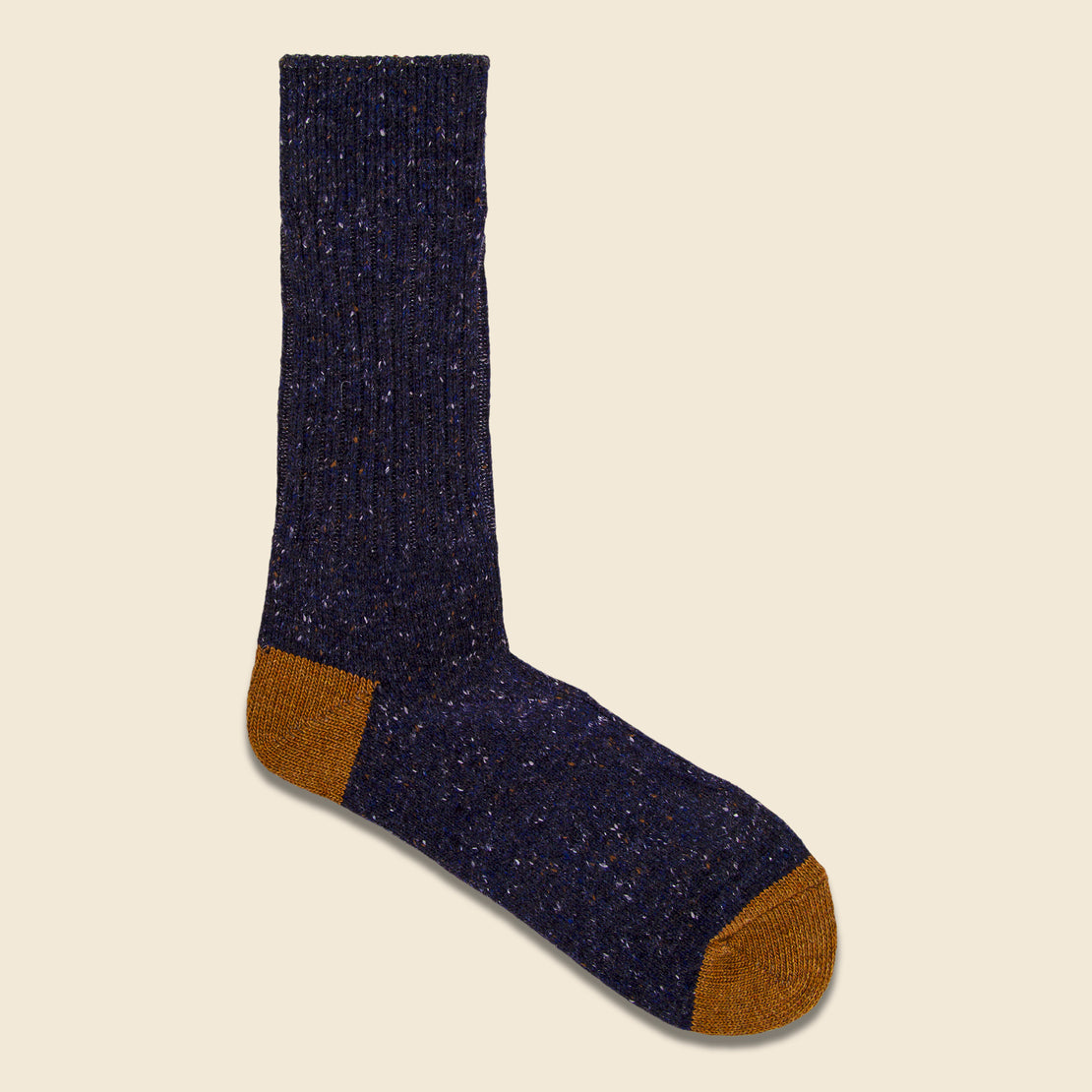 Anonymous Ism Tweed Nep Crew Sock - Navy/Tan