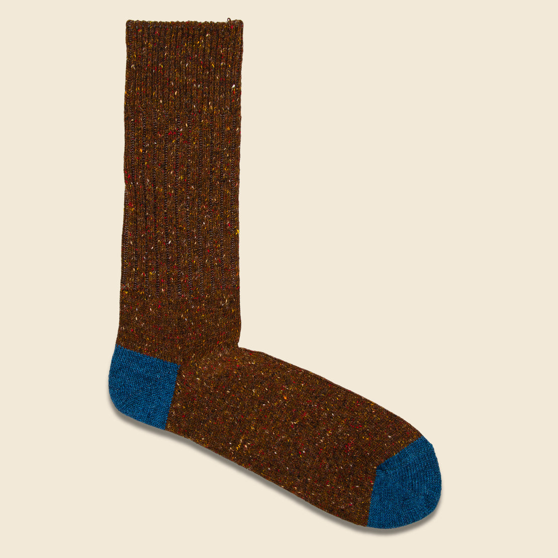 Anonymous Ism Tweed Nep Crew Sock - Brown/Blue