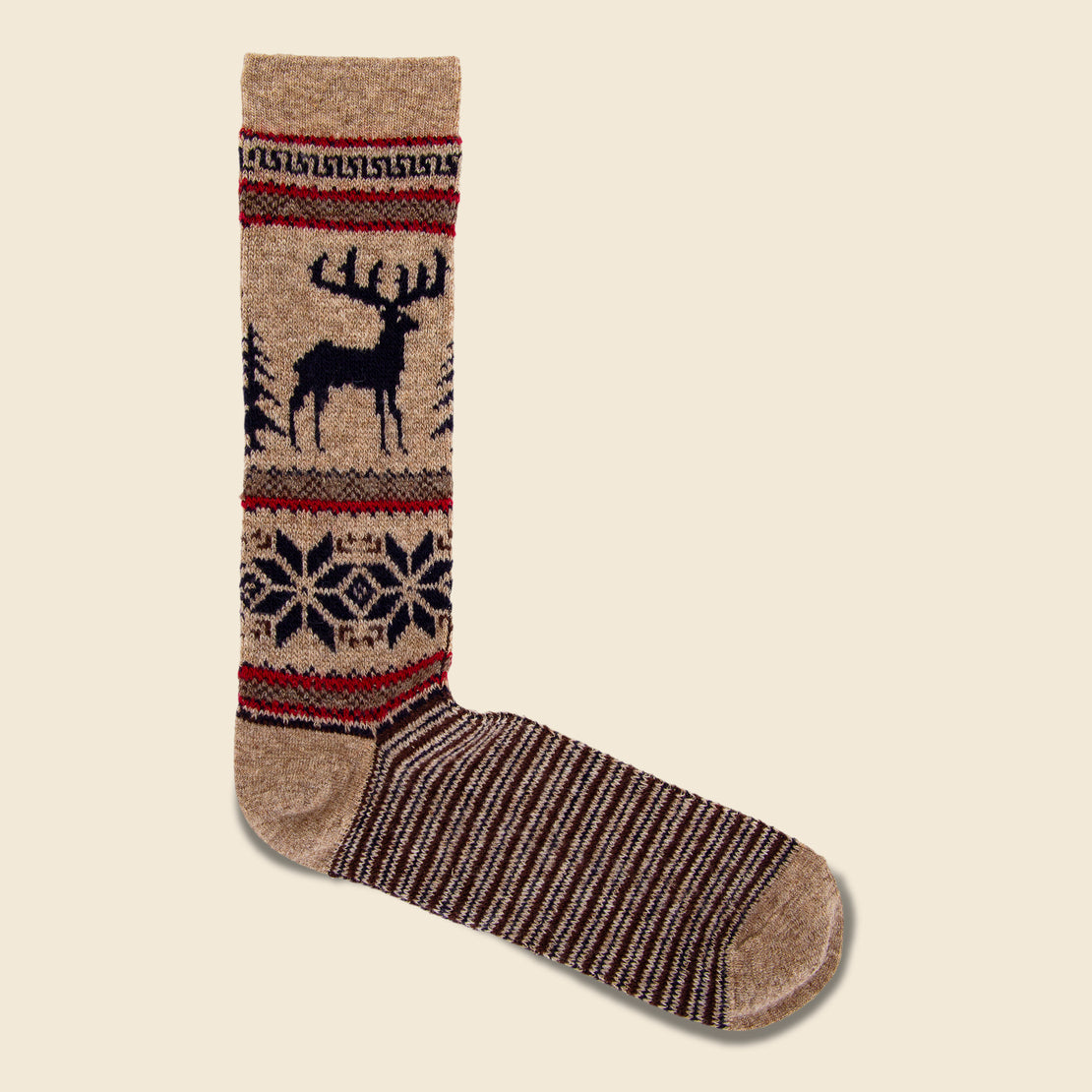 Anonymous Ism Deer Sock - Brown/Red