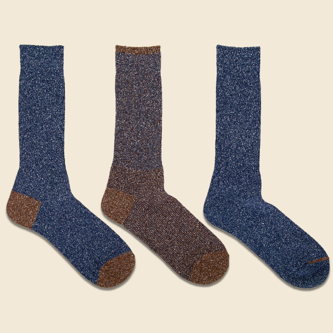 Anonymous Ism Nep Crew Sock - Three Pack - Navy/Brown