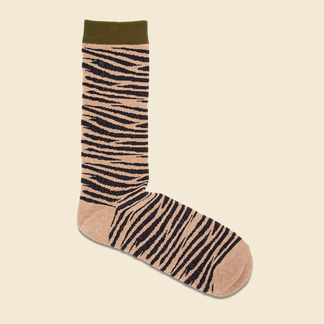Anonymous Ism Crew Sock - Olive Zebra