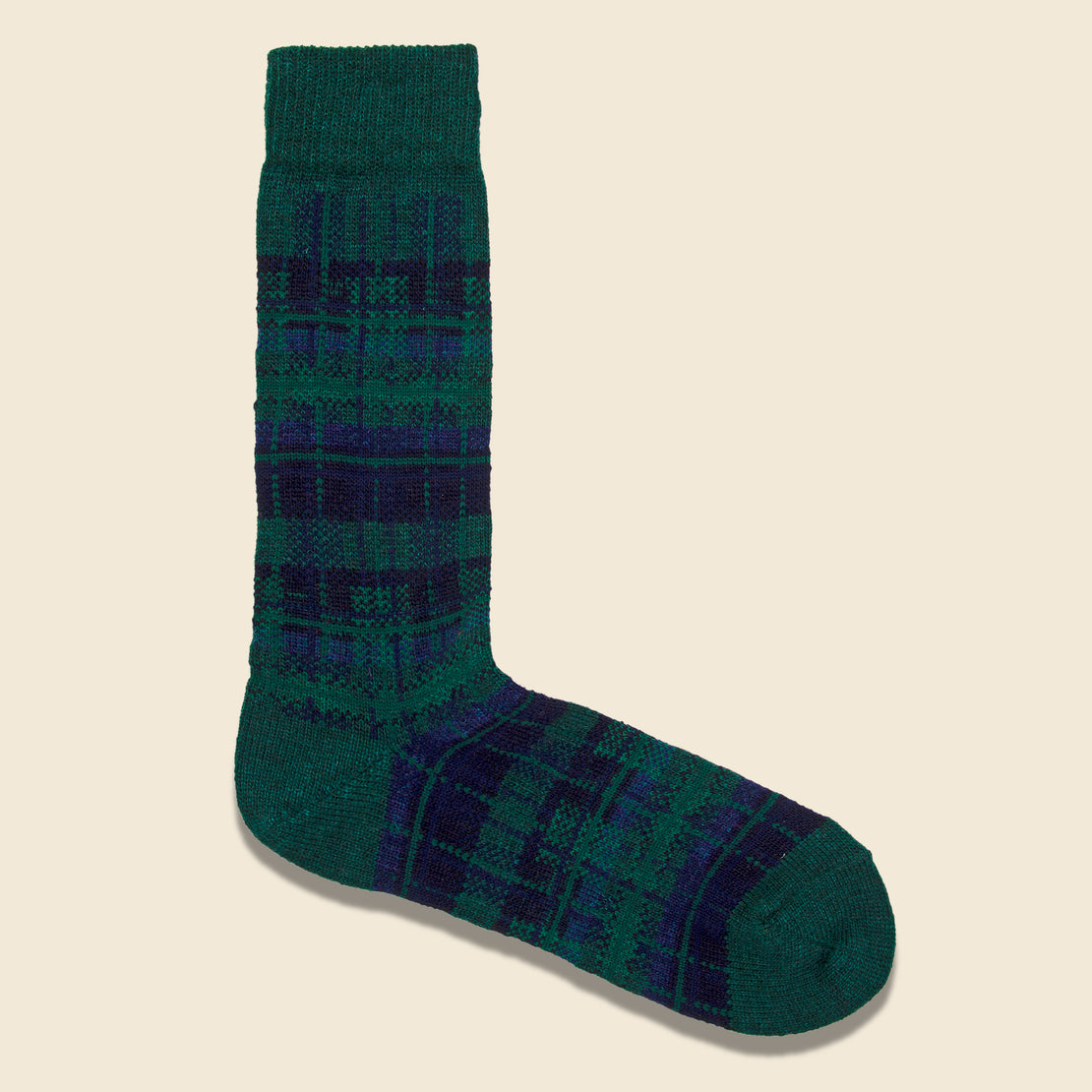 Anonymous Ism Wool Check Crew Sock - Moss Green