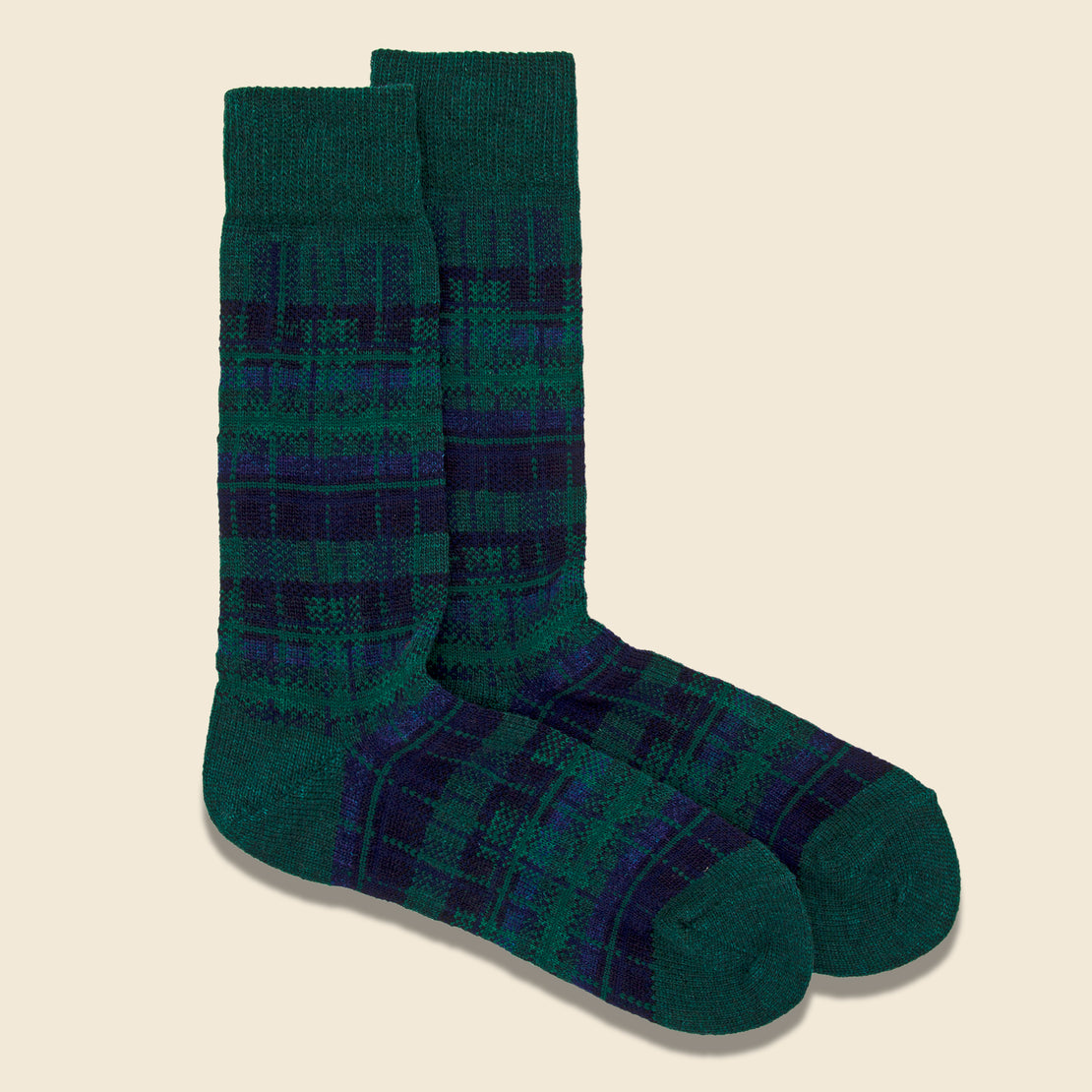 Wool Check Crew Sock - Moss Green