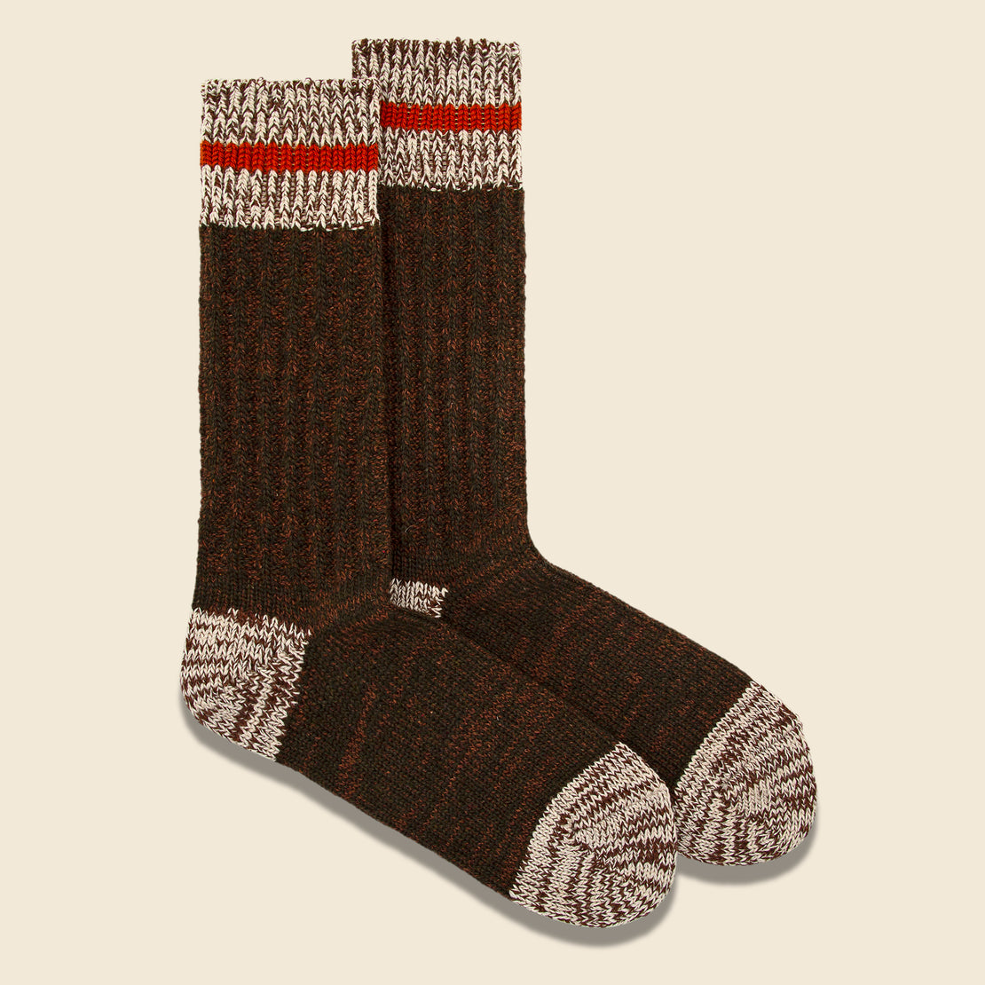 Cotton Wool Mix Stripe Crew Sock - Olive