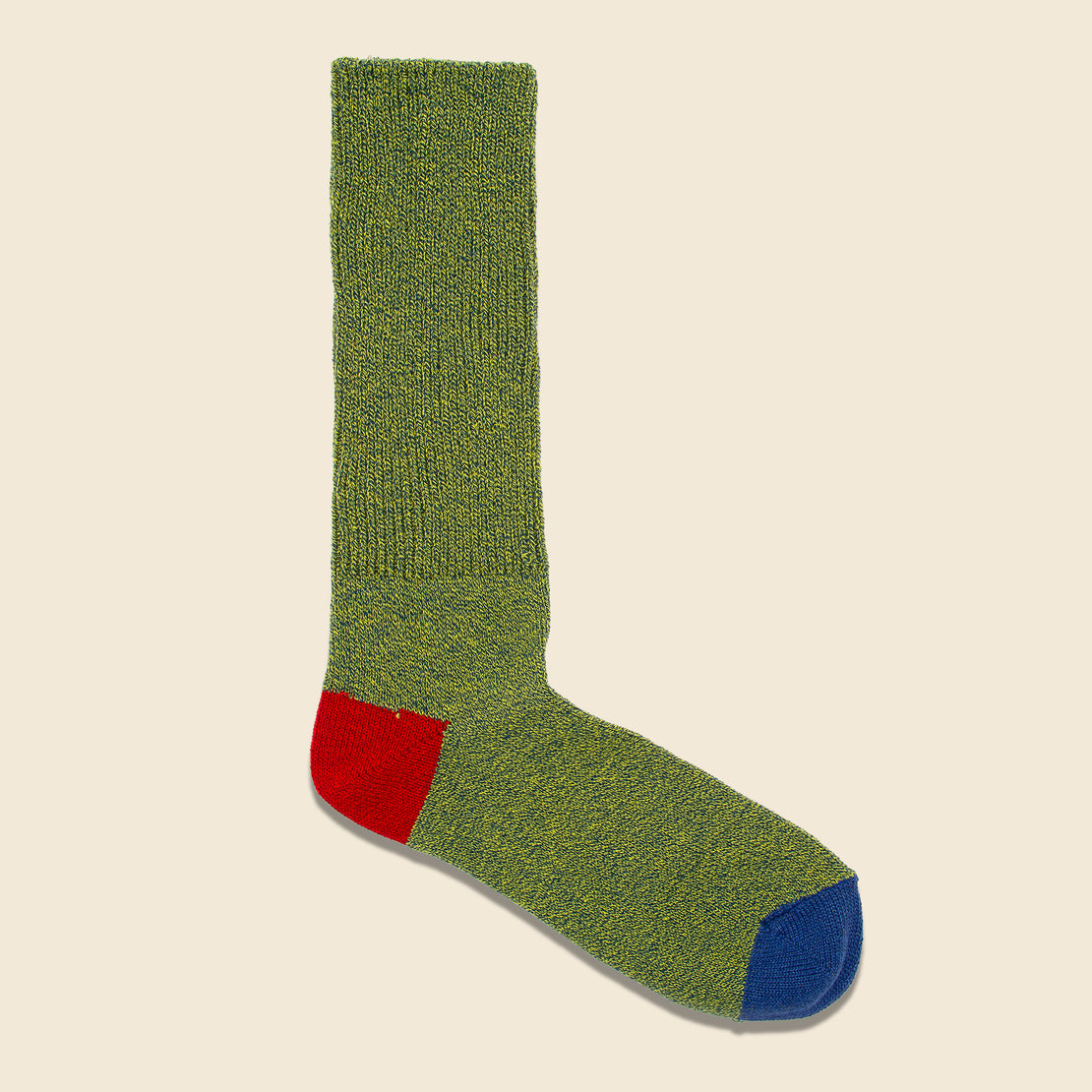 Anonymous Ism 2-Point Heel/Toe Crew Sock - Green/Red/Blue
