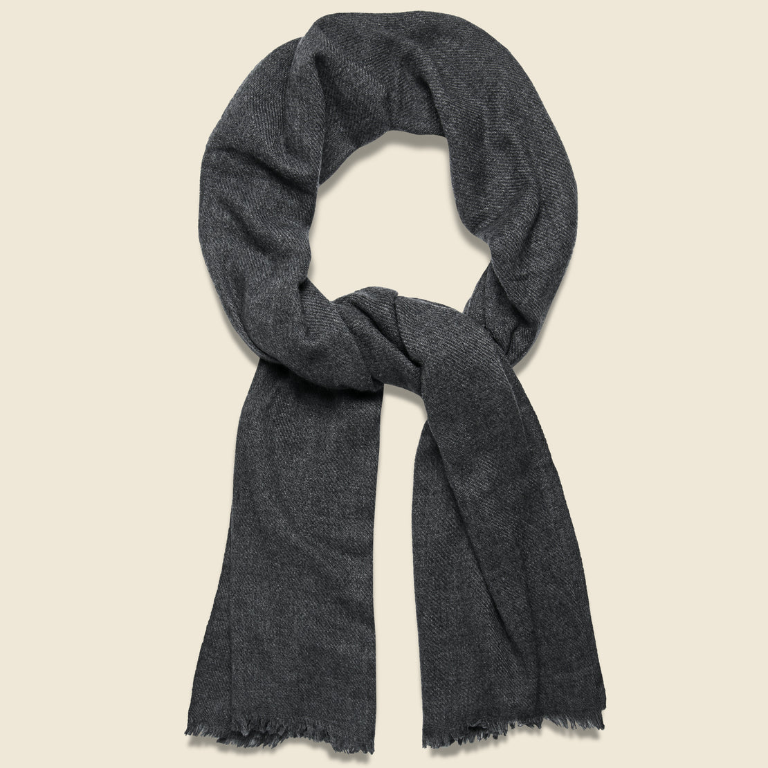 Auntie Oti Basketweave Camel Hair Scarf - Dark Grey
