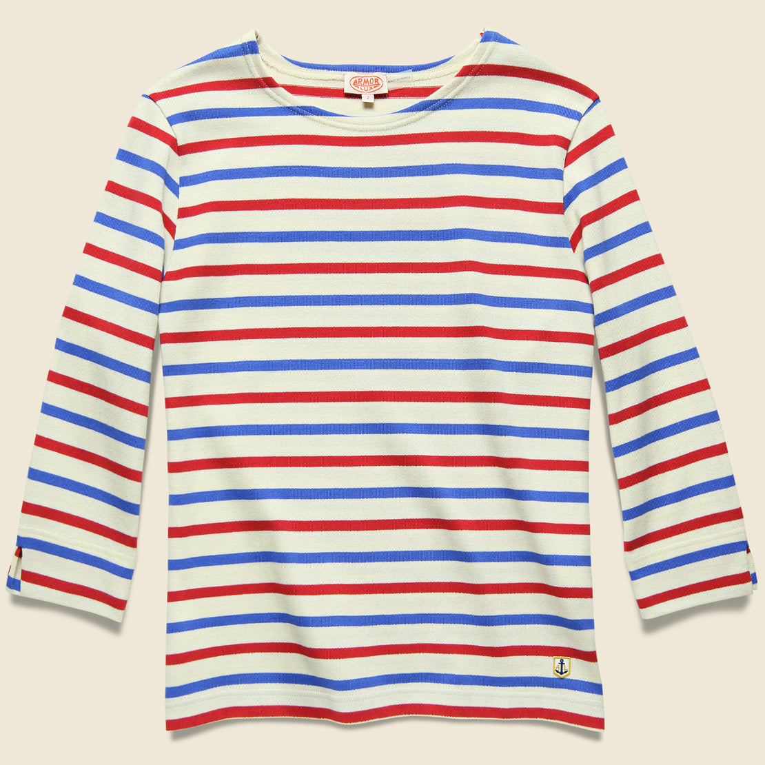 Armor Lux 3/4 Sleeve Marine Stripe Top - Natural/Red/Blue