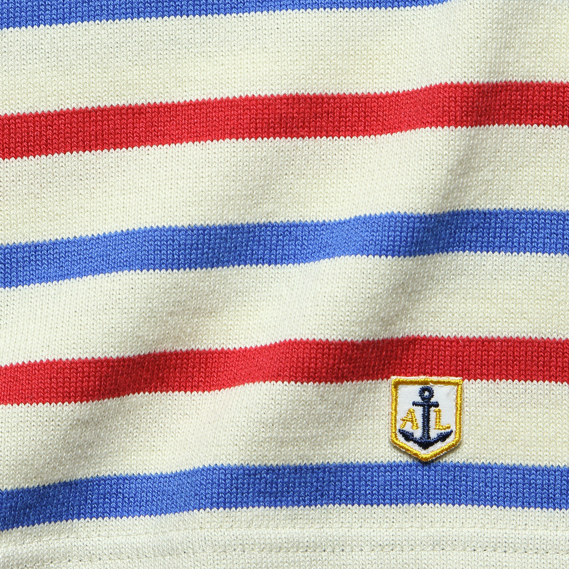 3/4 Sleeve Marine Stripe Top - Natural/Red/Blue