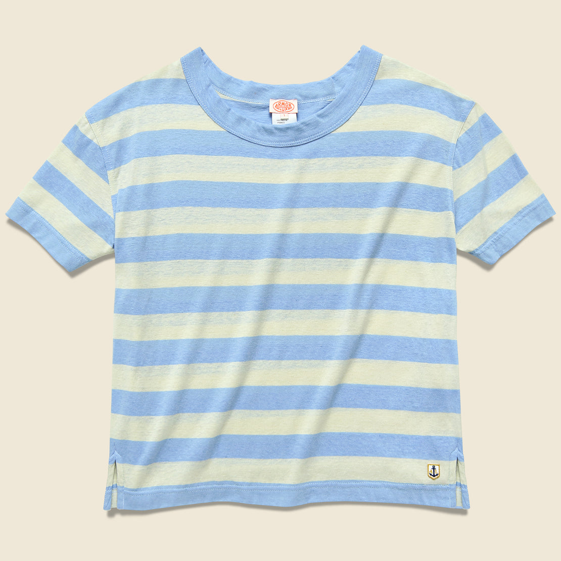bed00bfd Armor Lux Boxy Cotton/Linen Tee - Natural/Light Blue ...