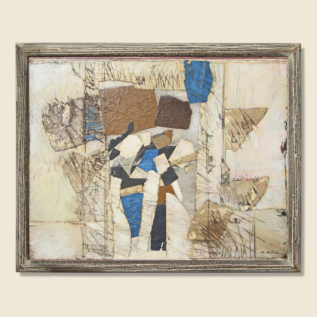 Vintage Mixed Media Abstract Painting - Ronald Ahlstrom