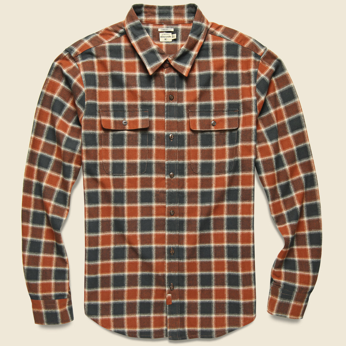Bridge & Burn Bedford Flannel - Rust Charcoal Plaid