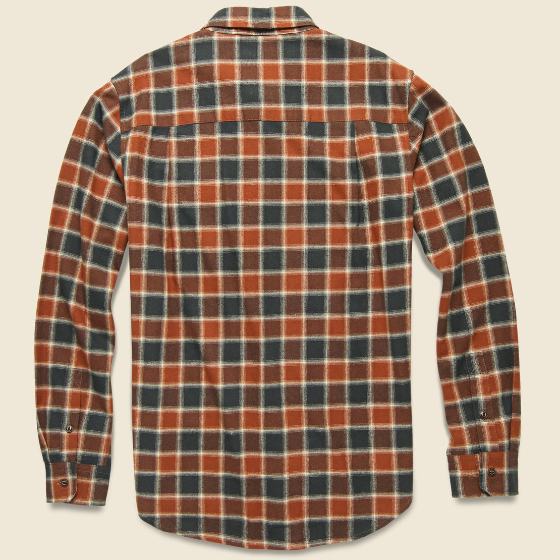 Bedford Flannel - Rust Charcoal Plaid