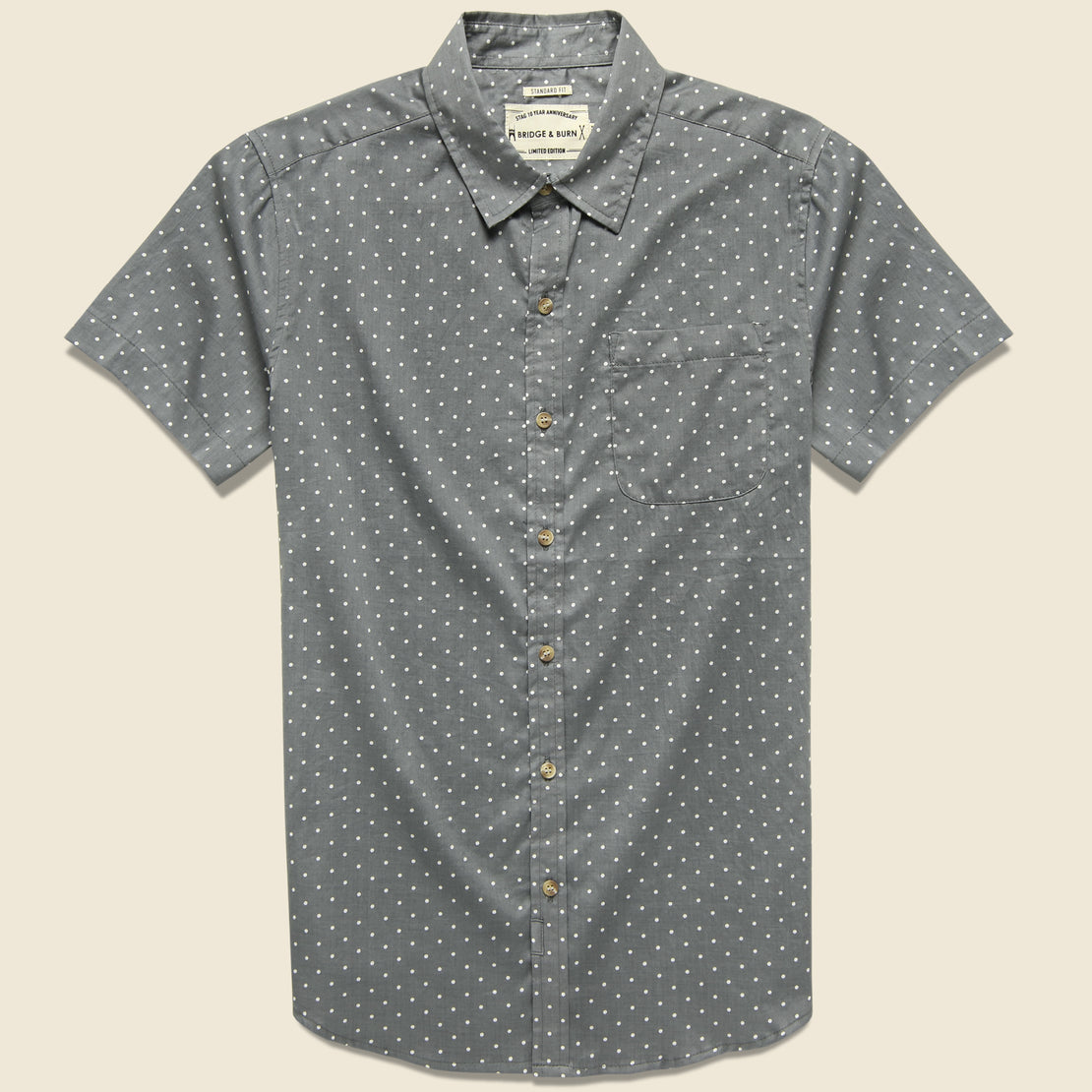 Bridge & Burn Jackson Polka Dot Shirt - Grey