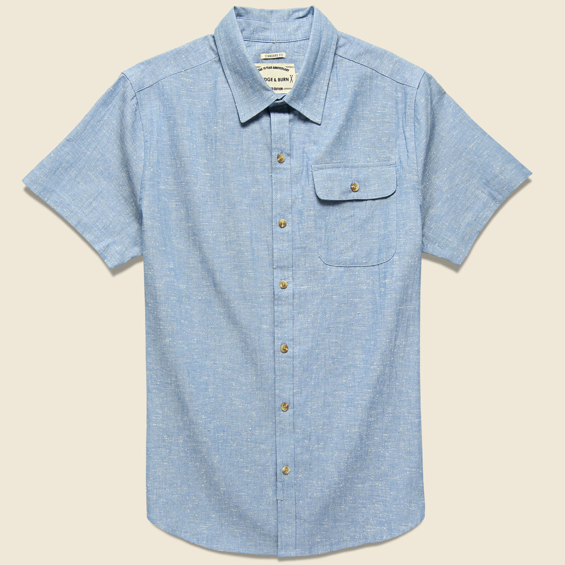 Bridge & Burn Marten Slub Chambray Shirt - Medium Indigo