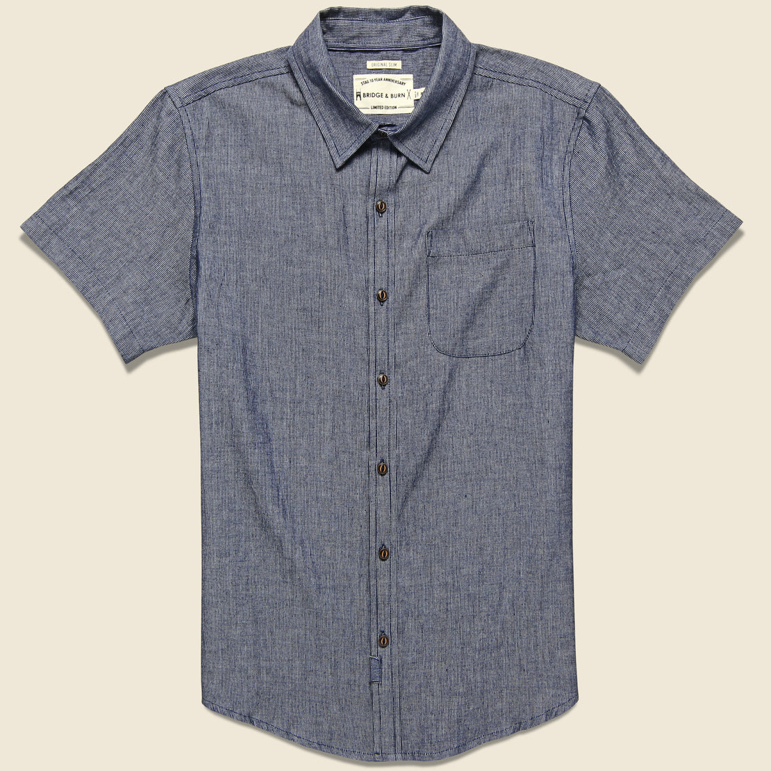 Bridge & Burn Harbor Chambray Stripe Shirt - Grey/Blue
