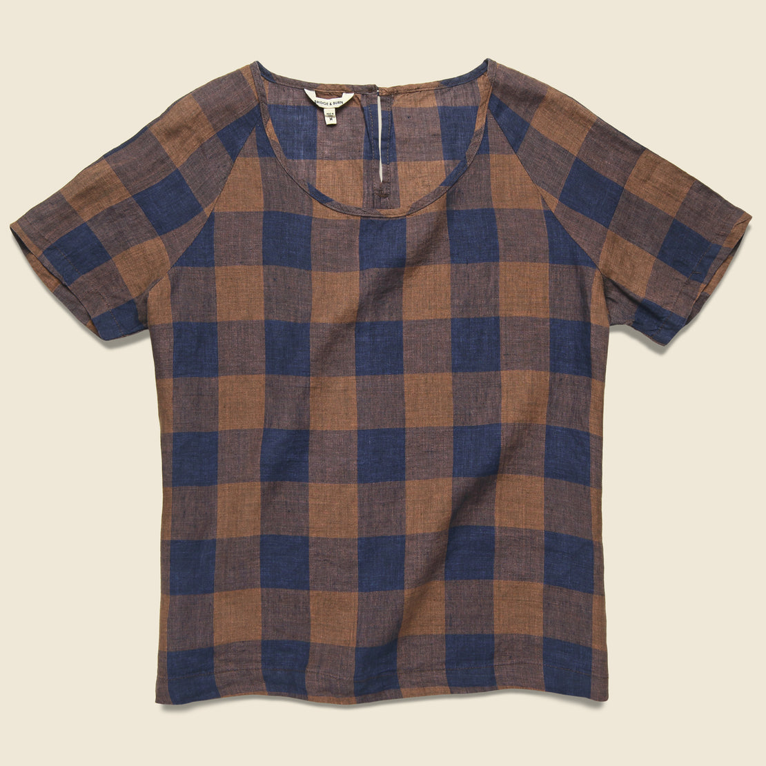 Bridge & Burn Reese Top - Navy/Rust Gingham