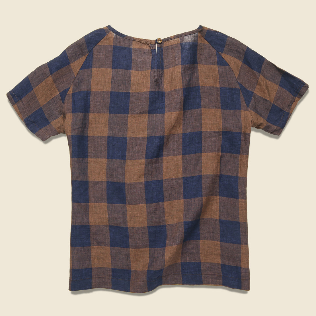 Reese Top - Navy/Rust Gingham