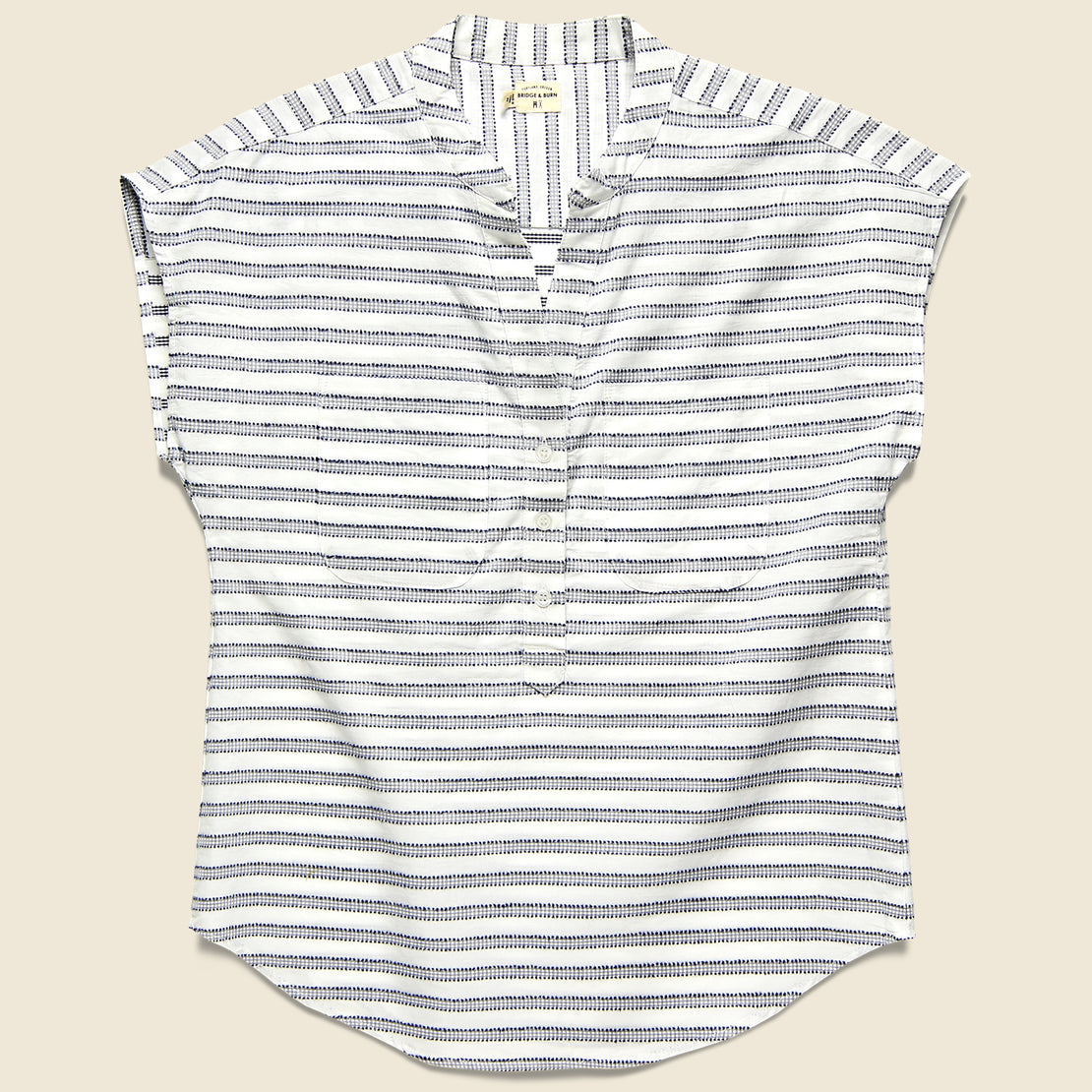 Bridge & Burn Ladd Top - Navy Gingham Stripe