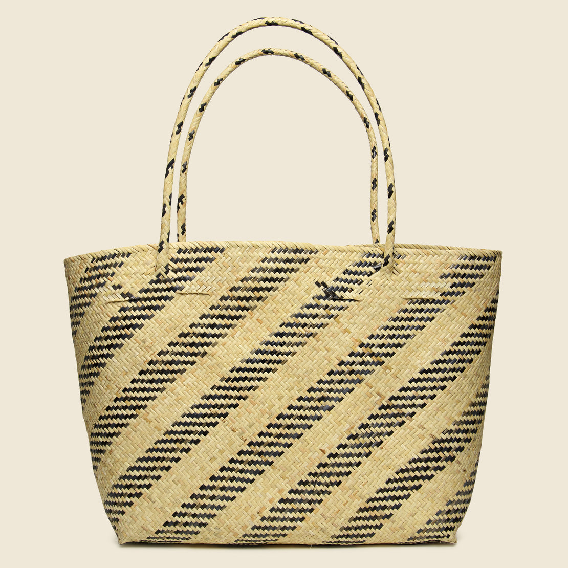 Bembien Gianna Rattan Bag - Natural Diagonal Stripe