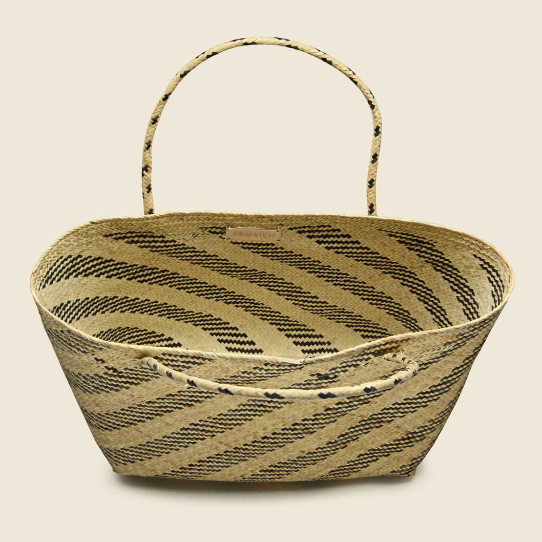 Gianna Rattan Bag - Natural Diagonal Stripe