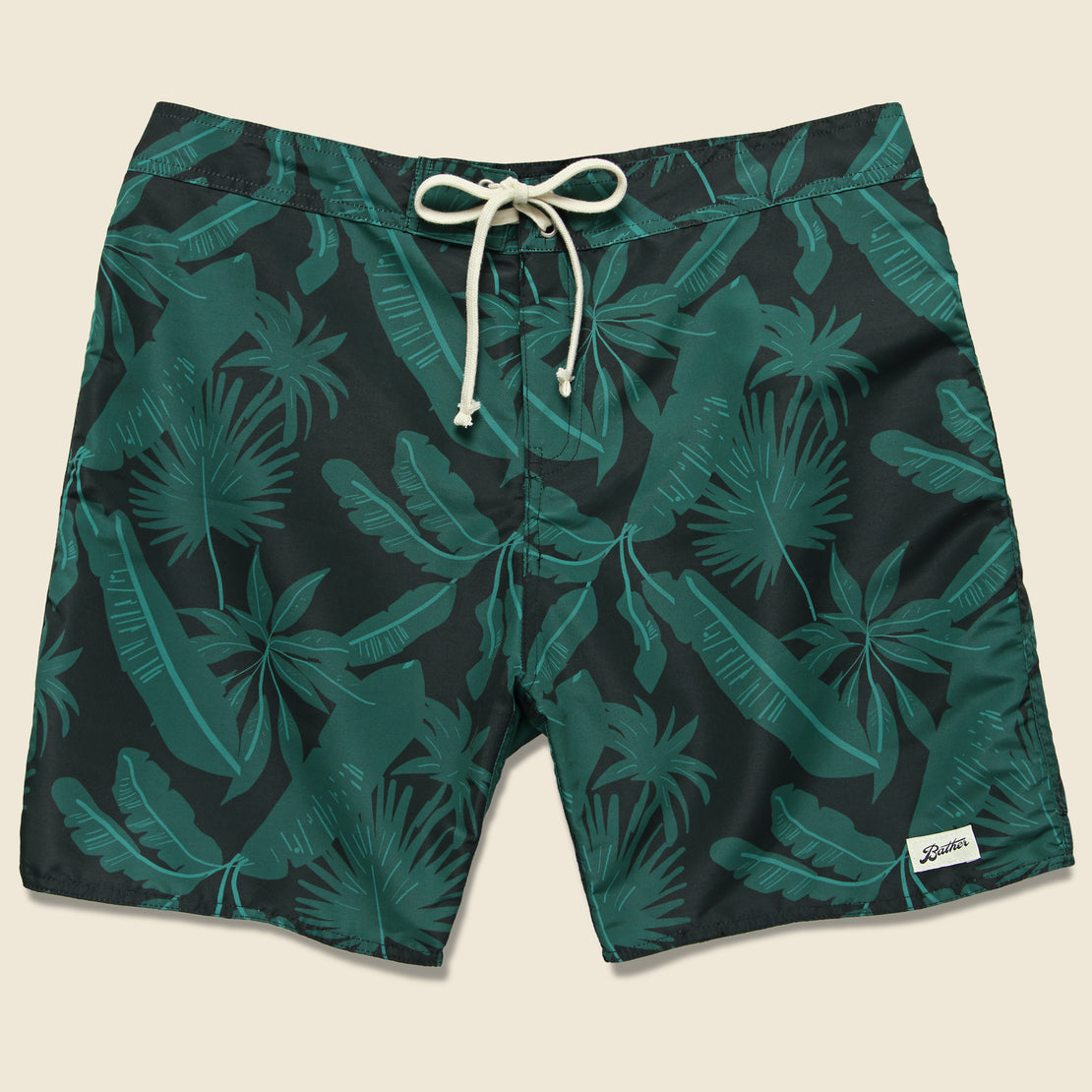Bather Trunk Co. Tropical Palms Boardshort - Black/Green