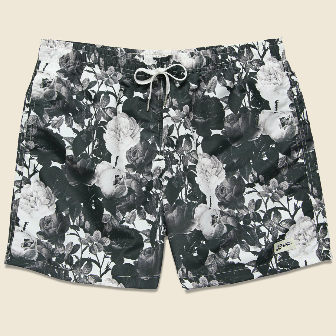 Bather Trunk Co. Black Roses Swim Trunk -  Black/White