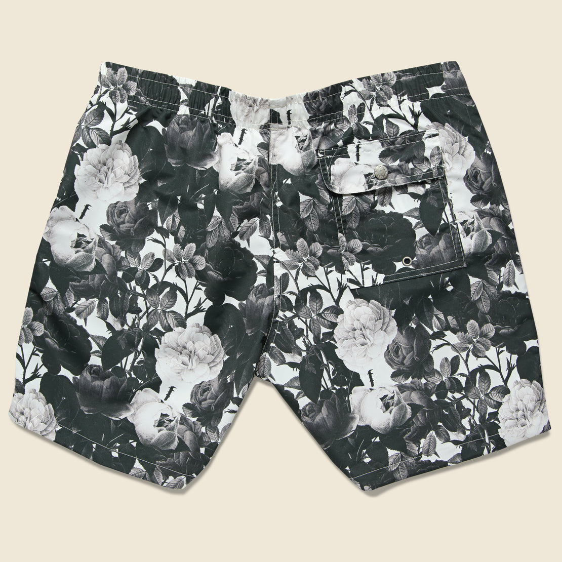 Black Roses Swim Trunk -  Black/White