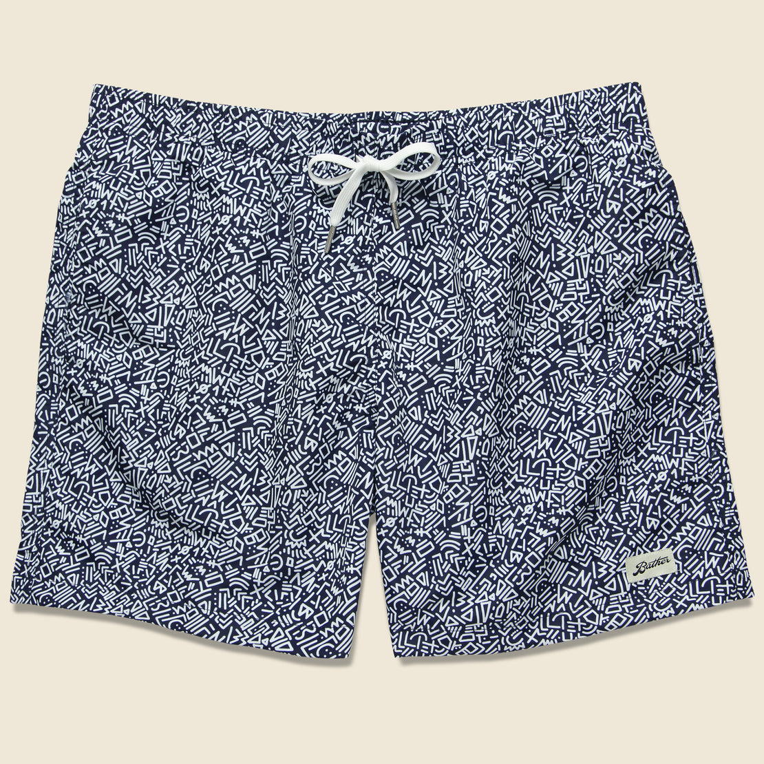 Bather Trunk Co. Doodle Swim Trunk - Blue/White
