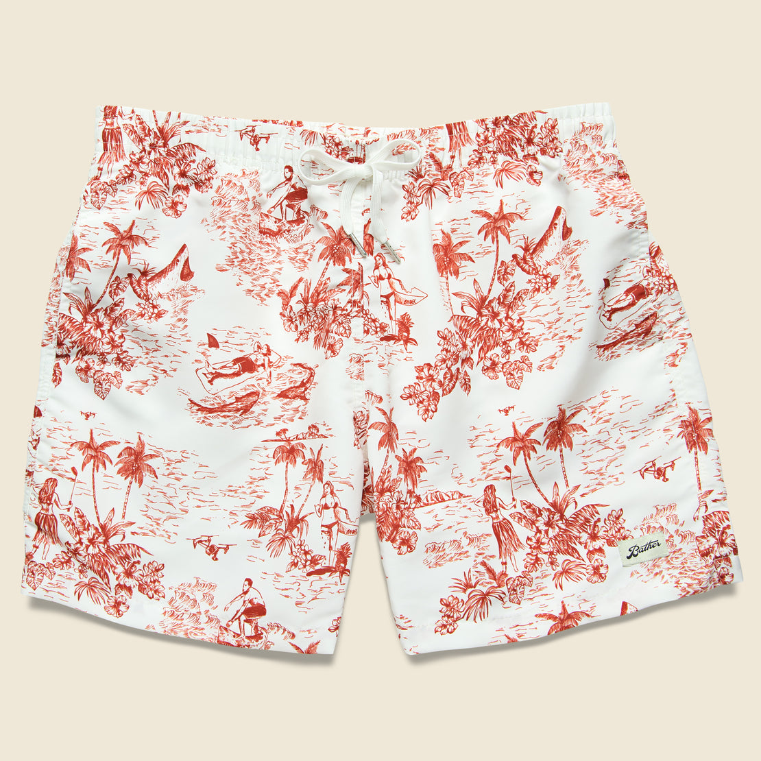 Bather Trunk Co. Canadian Toile Swim Trunk - Red/White