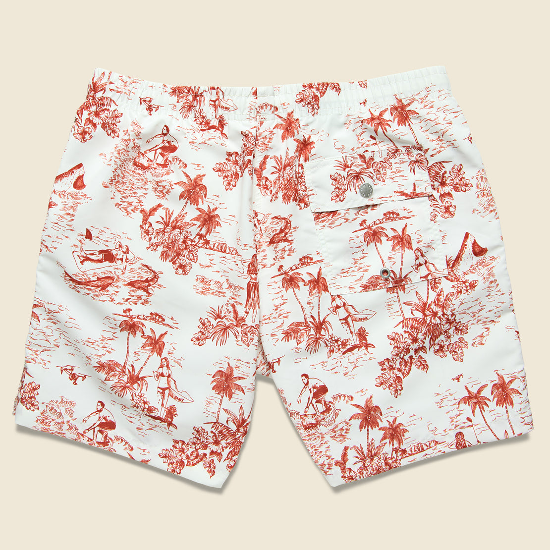 Canadian Toile Swim Trunk - Red/White