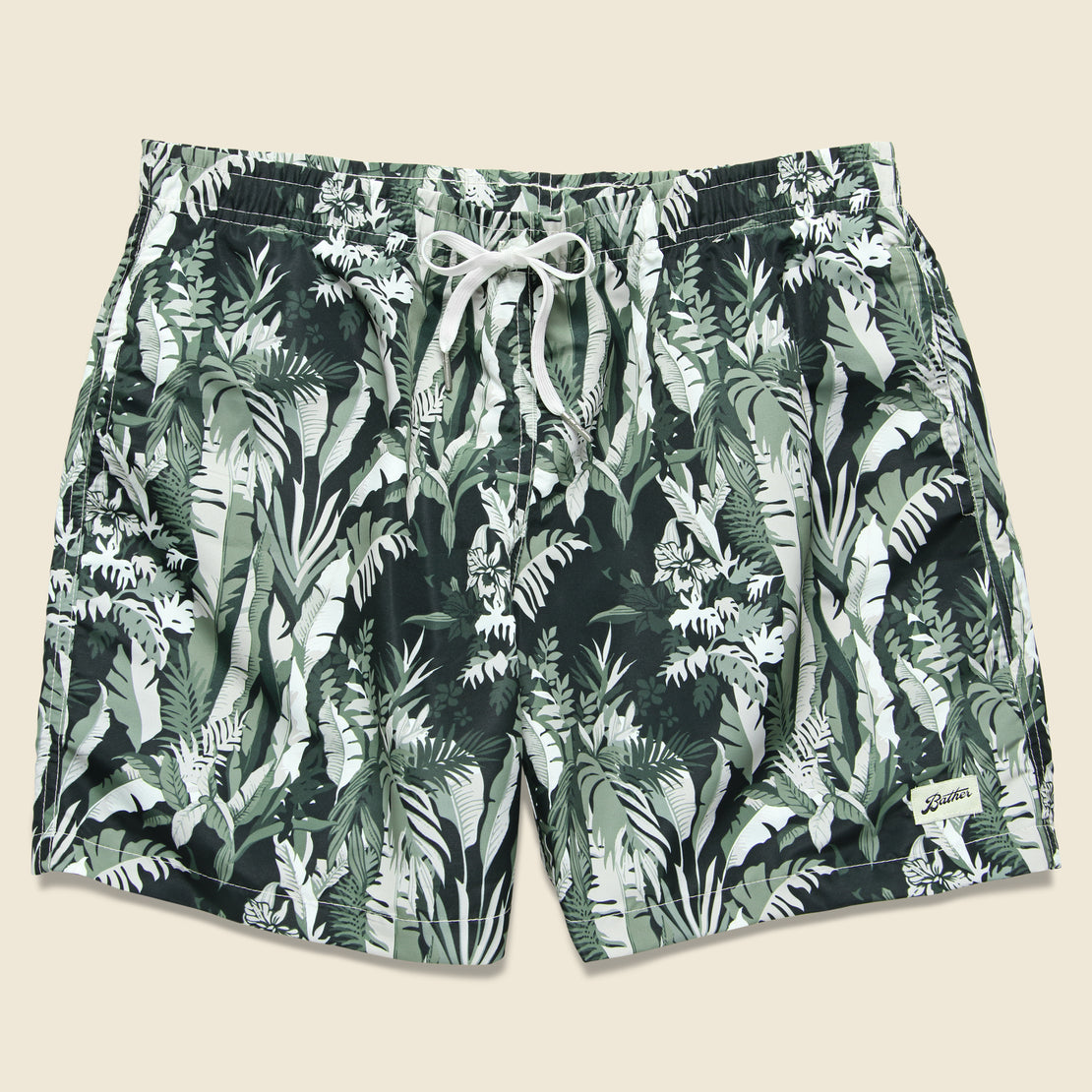 Bather Trunk Co. Tropical Forest Swim Trunk - Green