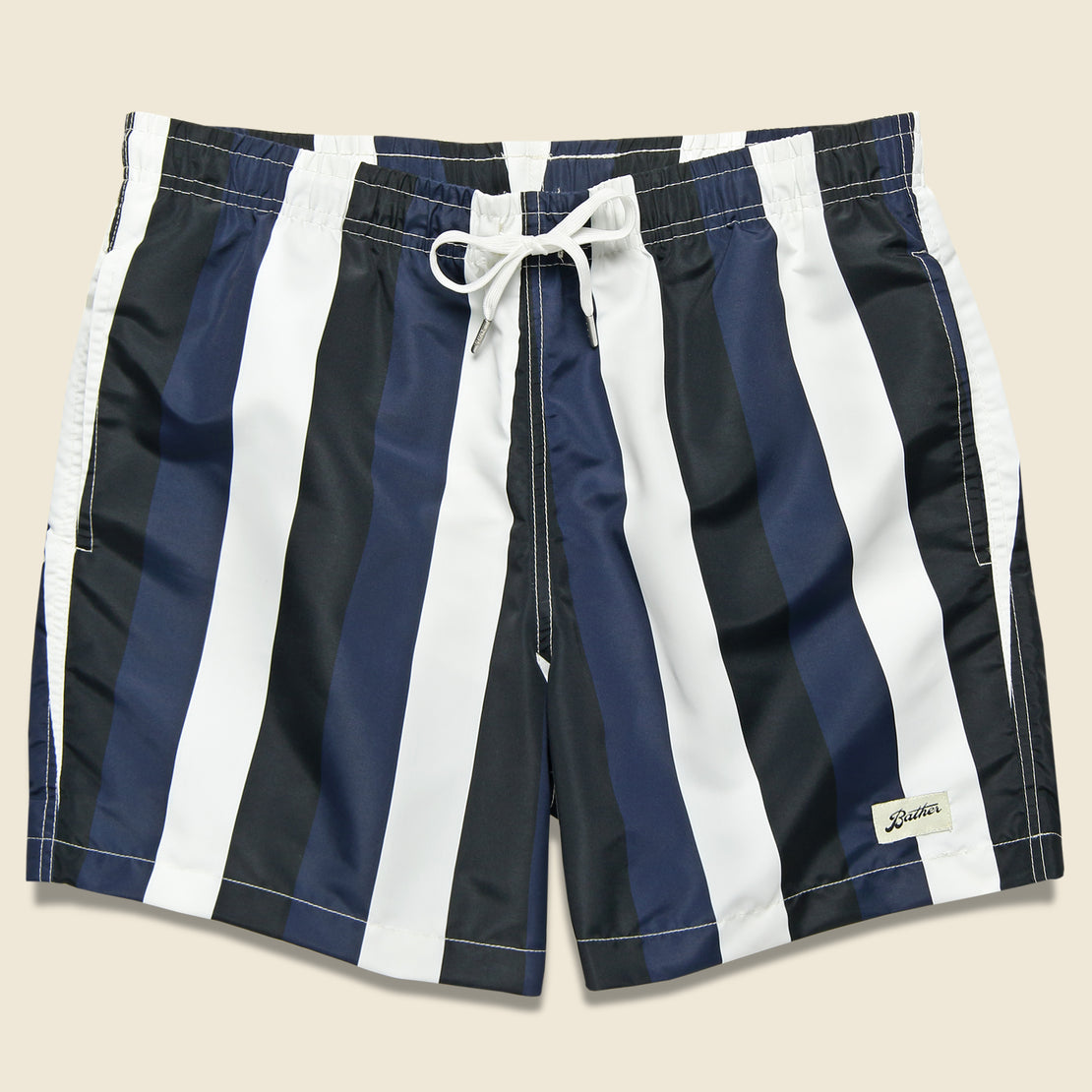 Bather Trunk Co. Striped Swim Trunk - Blue/Black