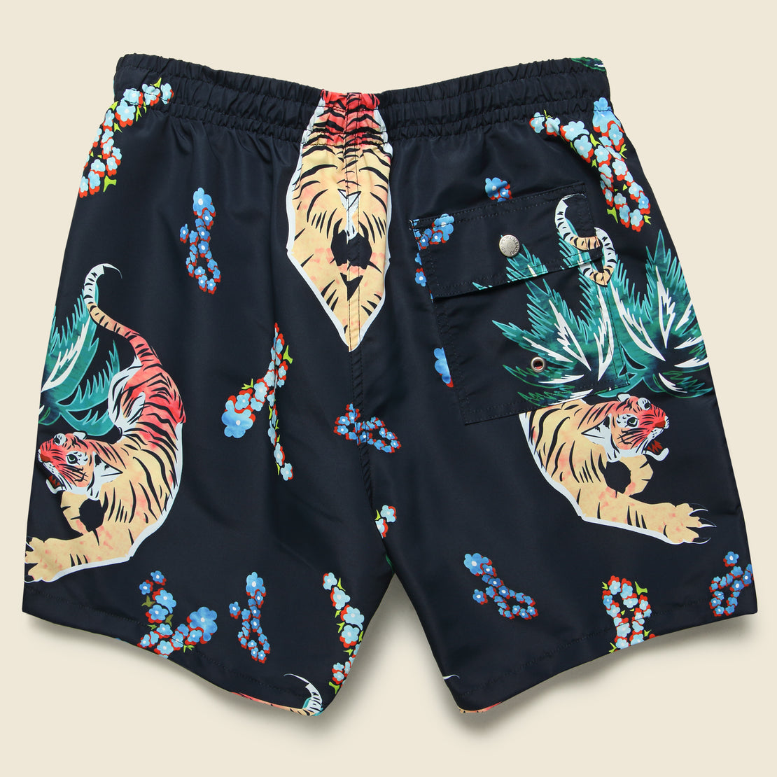 Hawaiian Tiger Swim Trunk - Black