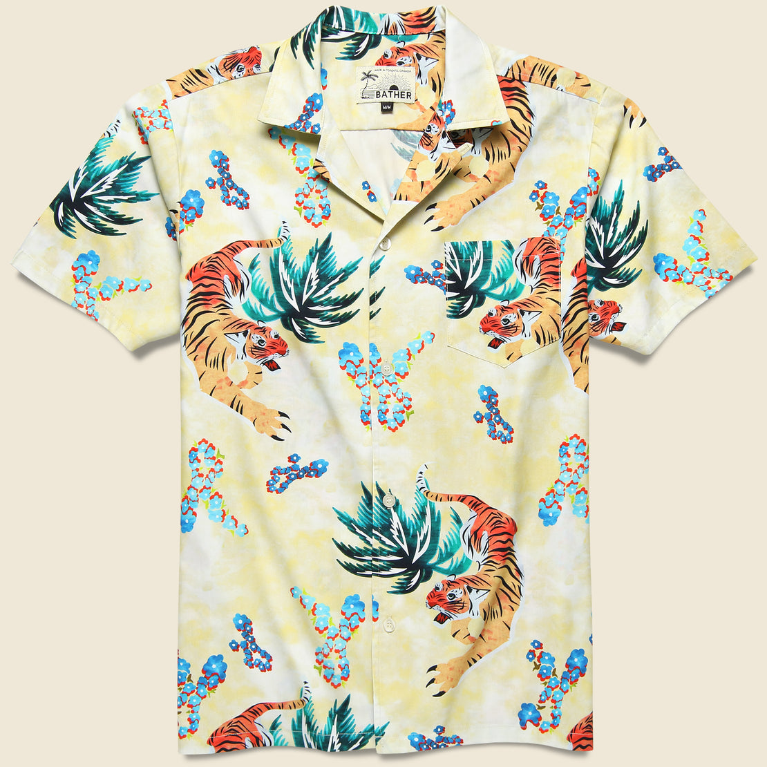 Bather Hawaiian Tiger Button Up Shirt - Beige