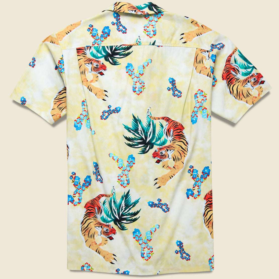 Hawaiian Tiger Button Up Shirt - Beige
