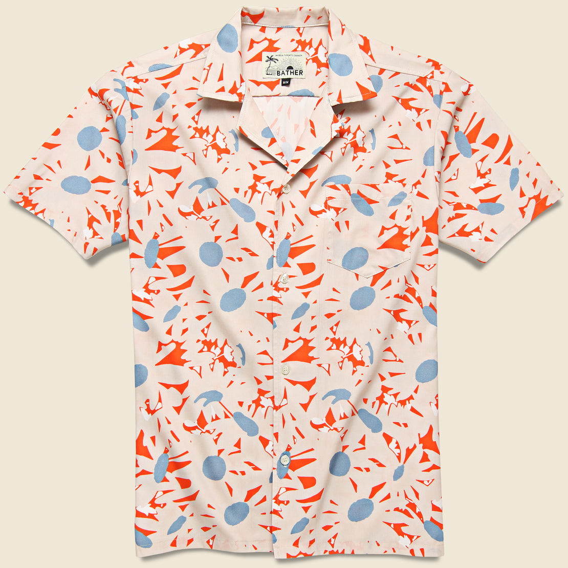 Bather Orange Flowers Shirt - Orange/White